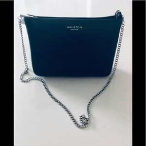 Halston Heritage Black Leather chain shoulder bag